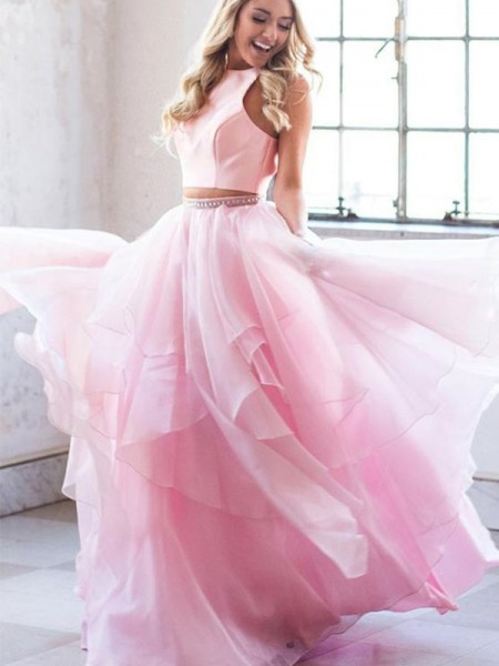 A-Line/Princess Beading Scoop Tulle Sleeveless Long Two Piece Dress