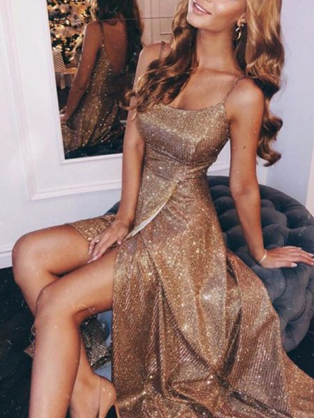 A-Line/Princess Sequins Spaghetti Straps Ruched Sleeveless Floor-Length Dress