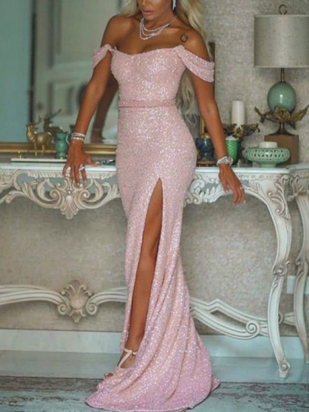 Trumpet/Mermaid Off-the-Shoulder Sequins Sleeveless Sash/Ribbon/Belt Sweep/Brush Train Dress