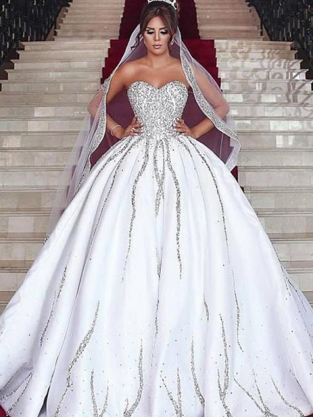 Ball Gown Sweetheart Satin Beading Sleeveless Sweep/Brush Train Wedding Dress