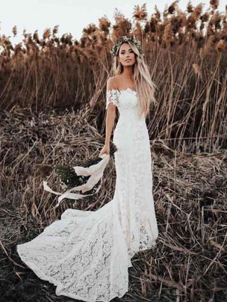 Trumpet/Mermaid Lace Applique Off-the-Shoulder Short Sleeves Court Train Wedding Dress