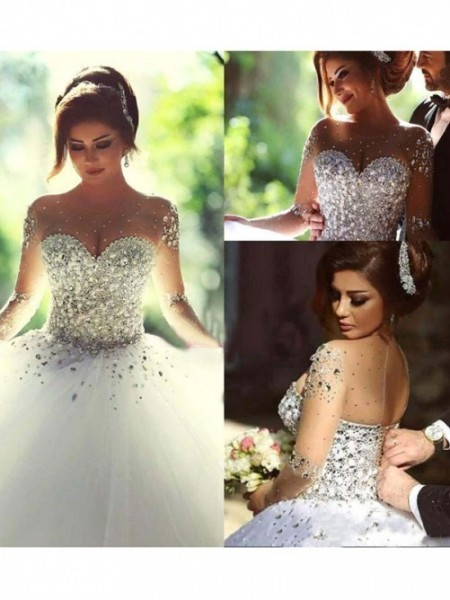 Ball Gown Scoop Court Train Tulle Wedding Dresses