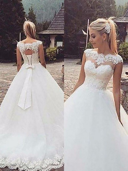 Ball Gown Bateau Lace Tulle Court Train Wedding Dresses
