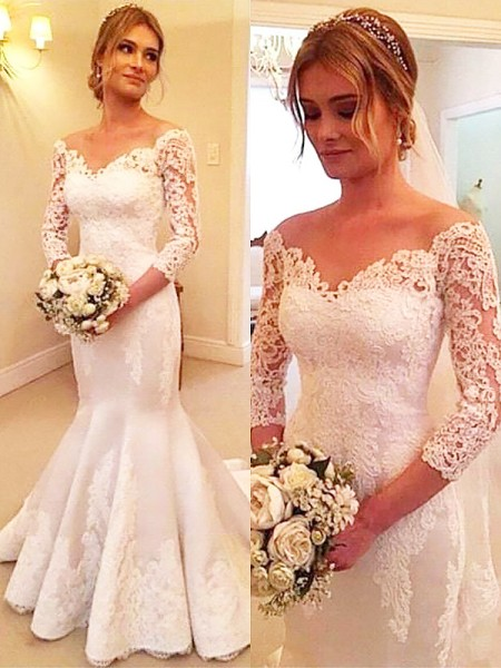 Trumpet/Mermaid Satin Off-the-Shoulder Lace Court Train Wedding Dresses