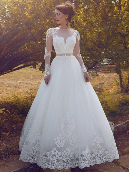 Ball Gown Bateau Tulle Floor-Length Wedding Dresses
