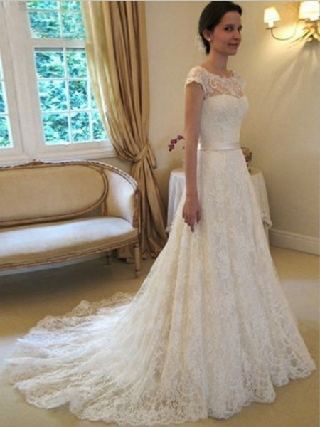 A-line/Princess Scoop Court Train Lace Sash/Ribbon/Belt Wedding Dresses
