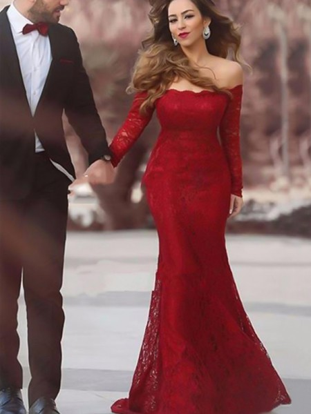 Trumpet/Mermaid Off-the-Shoulder Long Sleeves Floor-Length Ruffles Dresses with Lace