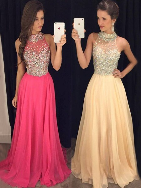 A-Line/Princess Halter Sleeveless Floor-Length Beading Dresses with Chiffon