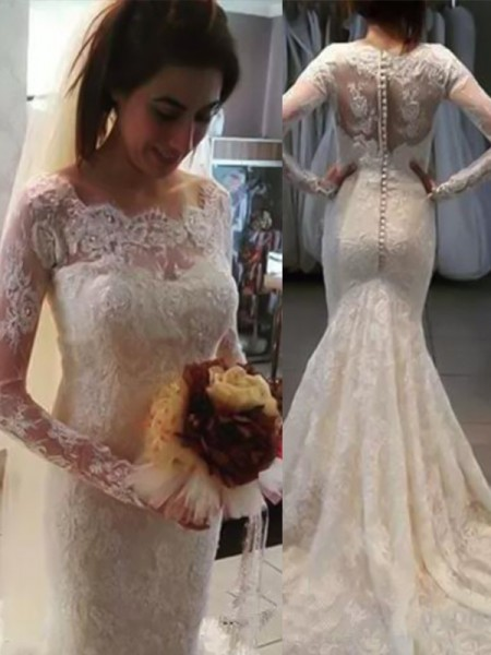 Trumpet/Mermaid Bateau Long Sleeves Sweep/Brush Train Applique Wedding Dresses with Lace