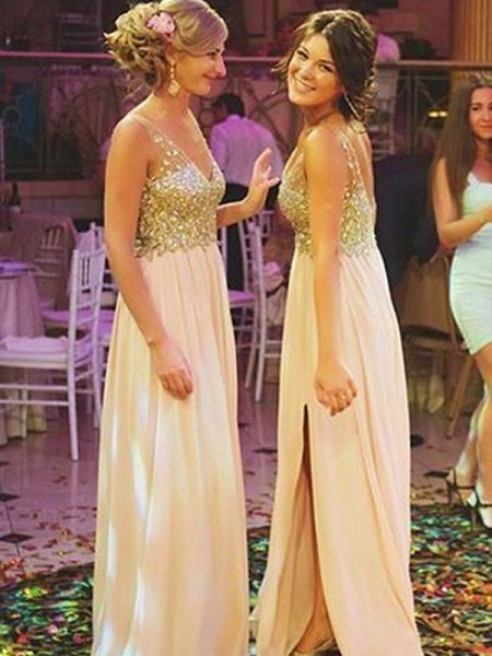 Floor-Length A-Line/Princess Sleeveless V-neck Bridesmaid Dresses with Chiffon