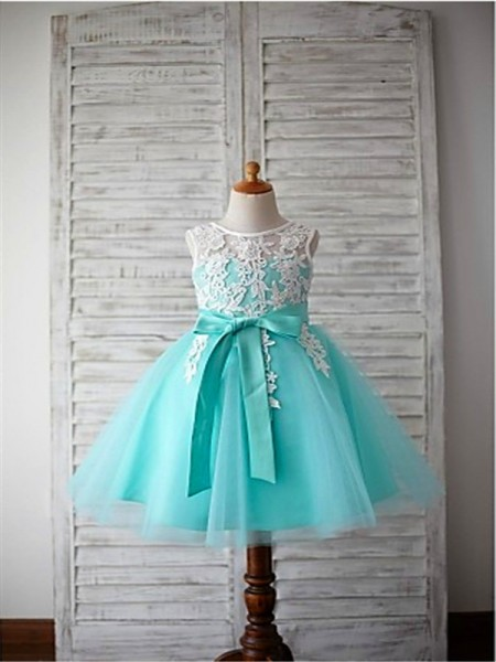 Ball Gown Scoop Bowknot Tea-Length Tulle Flower Girl Dress