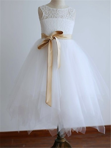A-line/Princess Scoop Sash/Ribbon/Belt Ankle-Length Tulle Flower Girl Dress