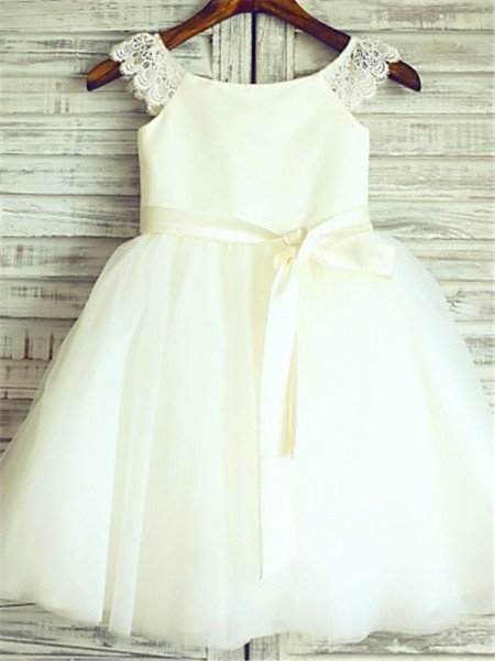 A-line/Princess Scoop Sash/Ribbon/Belt Tea-Length Tulle Flower Girl Dress