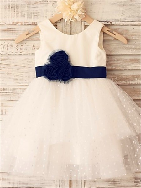 A-line/Princess Scoop Hand-made Flower Tea-Length Organza Flower Girl Dress