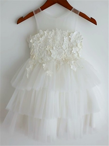 A-line/Princess Straps Tea-Length Tulle Flower Girl Dress with Lace