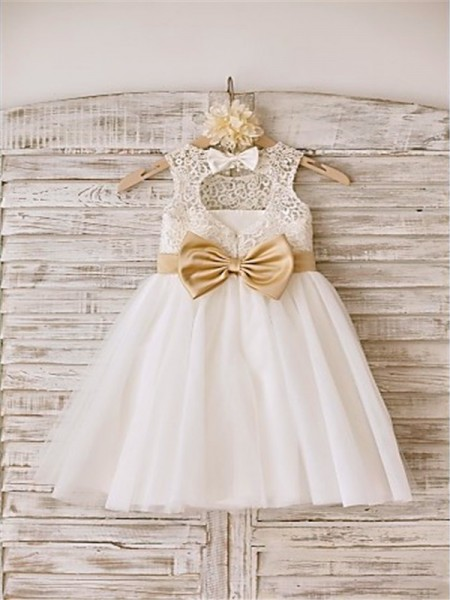 A-line/Princess Bowknot Scoop Tea-Length Tulle Flower Girl Dress