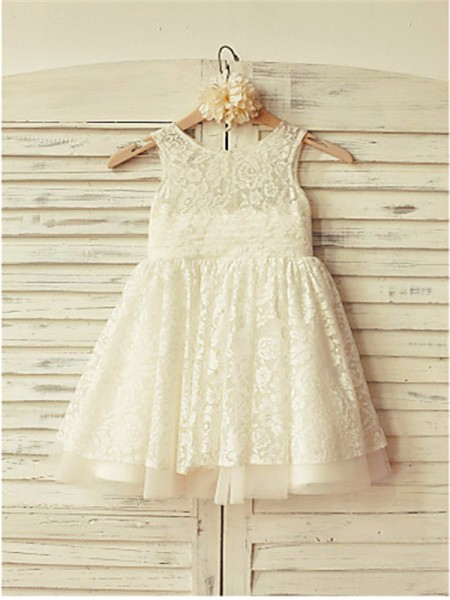 A-line/Princess Scoop Ruffles Tea-Length Flower Girl Dress with Lace