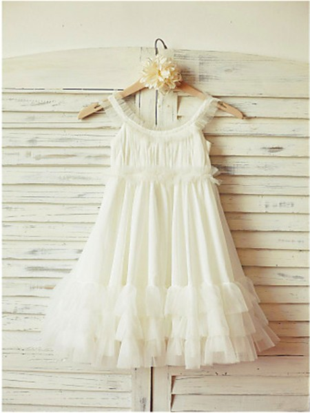 A-line/Princess Straps Ruffles Tea-Length Chiffon Flower Girl Dress