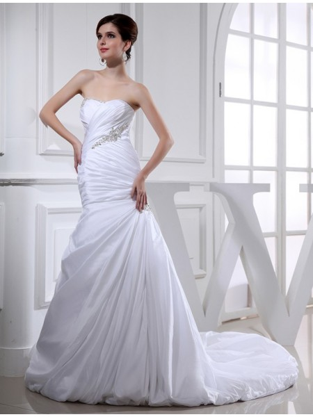 Trumpet/Mermaid Long Taffeta Wedding Dress