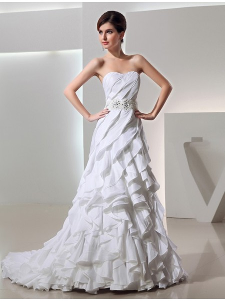 A-Line/Princess Long Sweetheart Taffeta Wedding Dress