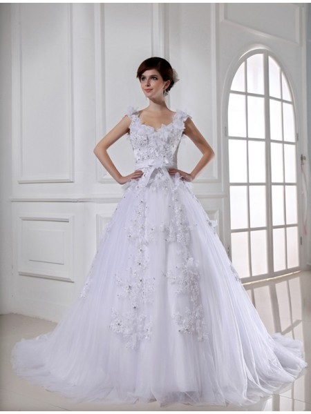 Ball Gown Long Satin Tulle Strapless Wedding Dress
