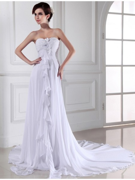 Sheath/Column Sweetheart Chiffon Long Wedding Dress