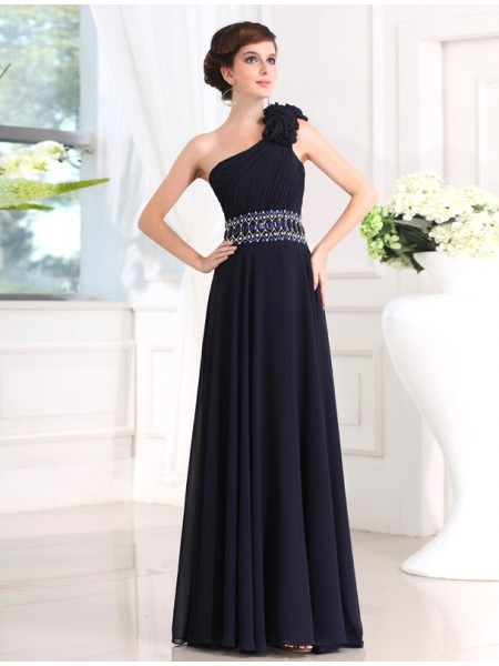 Sheath/Column One-shoulder Chiffon Dress