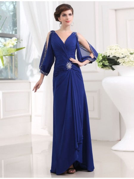 Sheath/Column 3/4 Sleeves V-neck Chiffon Dress