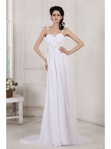 Sheath/Column Spaghetti Strap Pleats Ruched Applique Chiffon Wedding Dress
