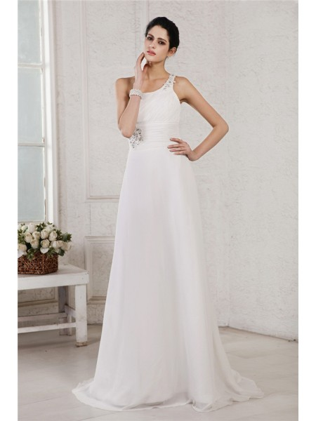 A-Line/Princess One-Shoulder Applique Chiffon Wedding Dress