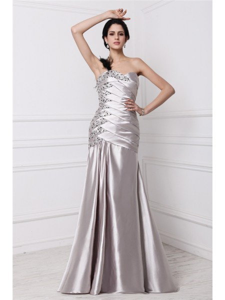 A-Line/Princess Sweetheart Pleats Long Elastic Woven Satin Dress