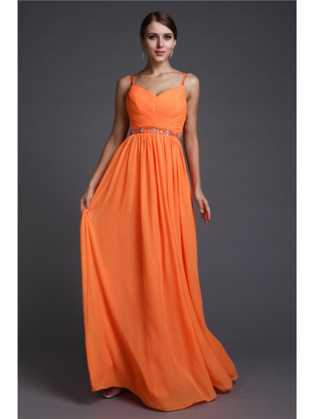 A-Line/Princess Spaghetti Straps Chiffon Dress