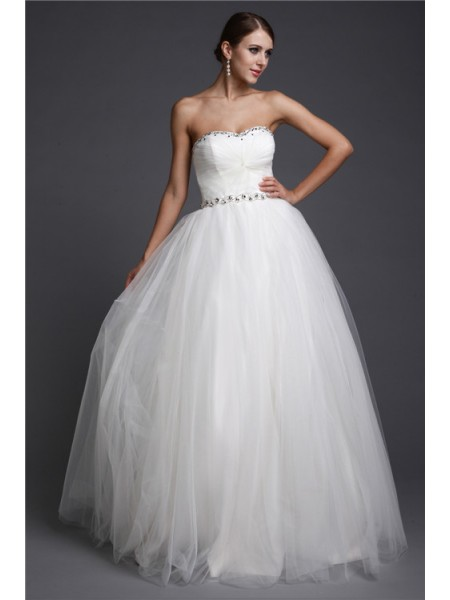 A-Line/Princess Sweetheart Long Net Dress