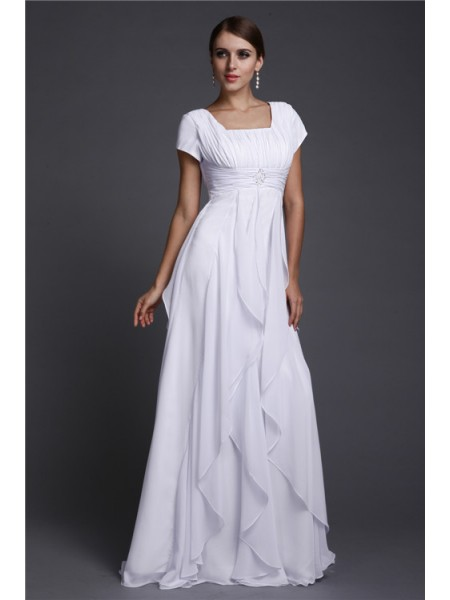 A-Line/Princess Square Neck Ruffles Chiffon Dress