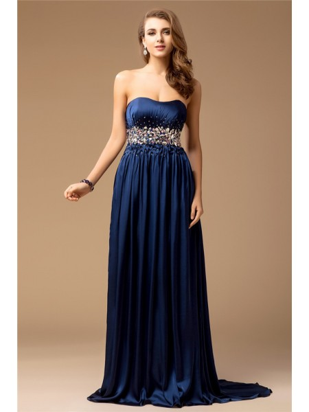 Sheath/Column Strapless Long Rhinestone Silk like Satin Dress