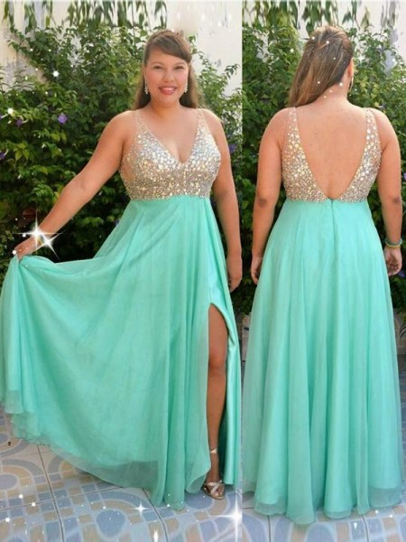 A-Line/Princess V-neck Beading Floor-Length Chiffon Plus Size Dress