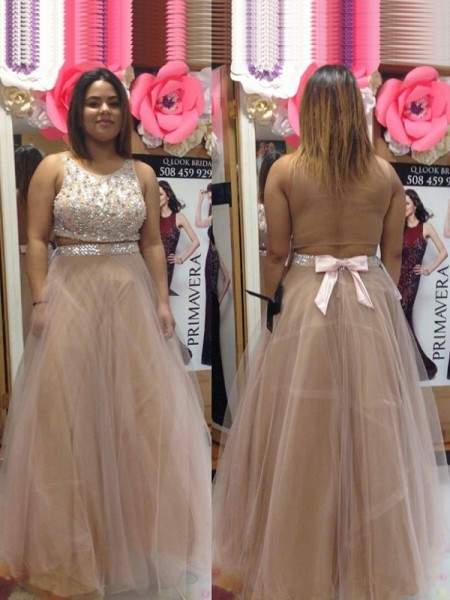 A-Line/Princess Scoop Beading Floor-Length Tulle Plus Size Dress