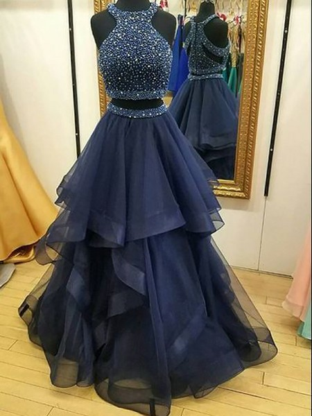 A-Line/Princess Halter Tulle Beading Floor-Length Two Piece Dress