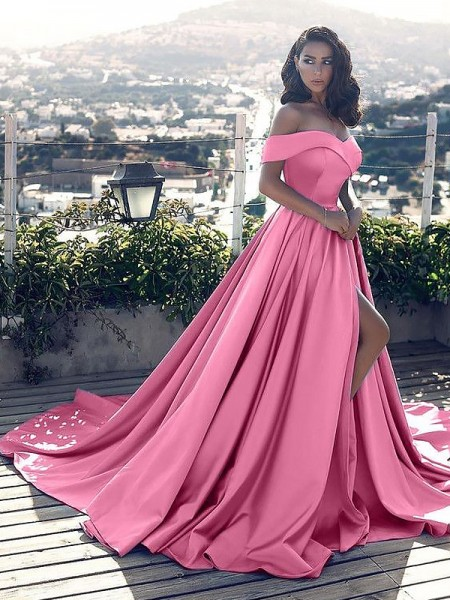 A-Line/Princess Off-the-Shoulder Ruffles Satin Court Train Dress