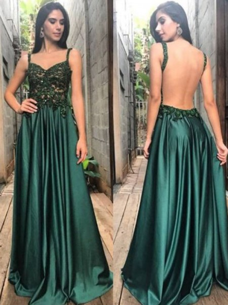 A-Line/Princess Straps Sleeveless Floor-Length Applique Satin Dress