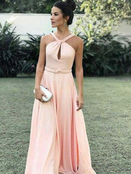 A-Line/Princess Halter Sleeveless Floor-Length Chiffon Dress
