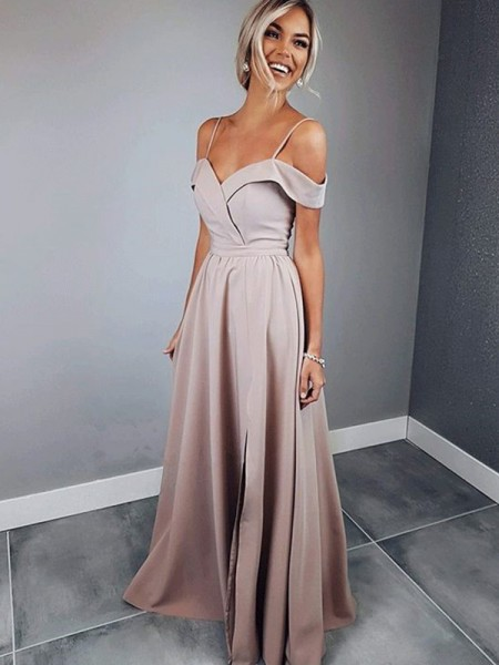 A-Line/Princess Spaghetti Straps Short Sleeves Floor-Length Satin Dress