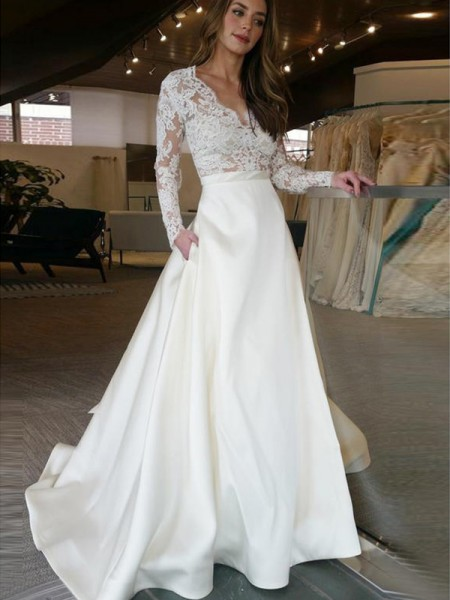 A-Line/Princess Long Sleeves V-neck Applique Satin Wedding Dress