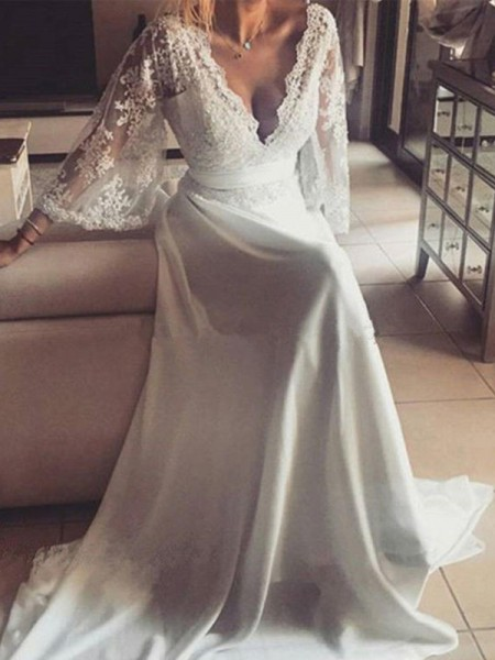 A-Line/Princess V-neck Long Sleeves Court Train Lace Wedding Dress