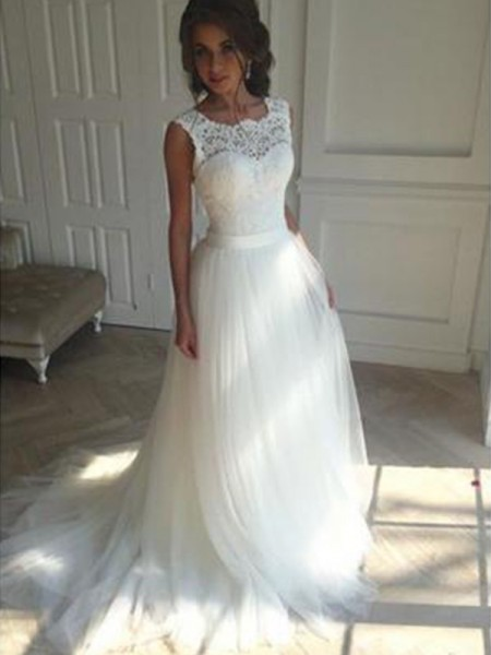 A-Line/Princess Sleeveless Square Court Train Tulle Wedding Dress