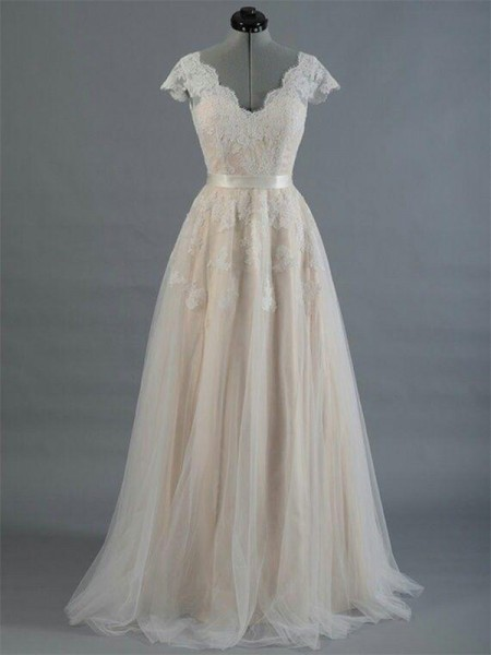 A-Line/Princess V-neck Sleeveless Applique Lace Wedding Dress