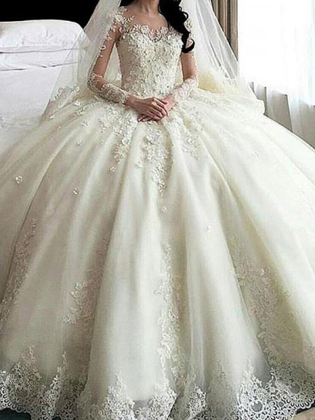 Ball Gown Scoop Cathedral Train Long Sleeves Lace Applique Tulle Wedding Dress