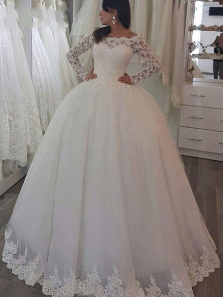 Ball Gown Long Sleeves Applique Lace Wedding Dress