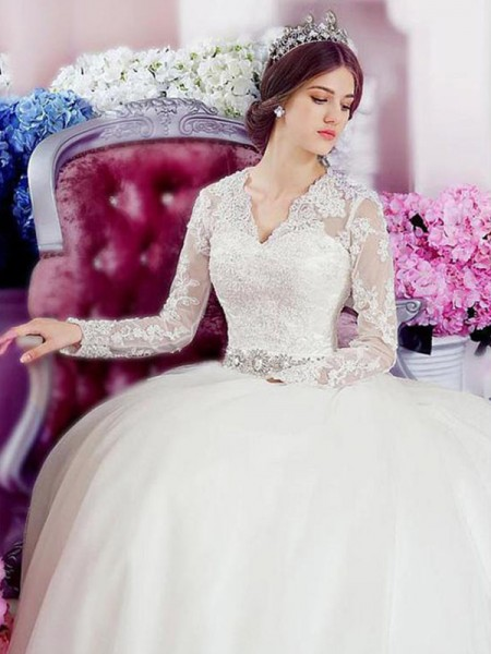 A-Line/Princess Long Sleeves V-neck Cathedral Train Applique Lace Tulle Wedding Dress