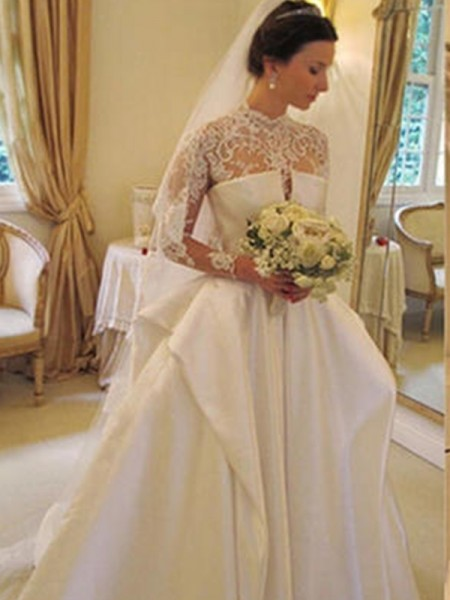 Ball Gown Satin Lace High Neck Long Sleeves Chapel Train Wedding Dress